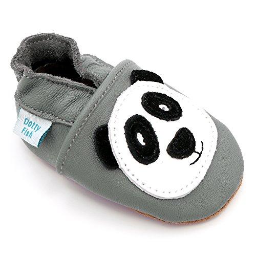 Dotty Fish Chaussures Cuir Souple bébé. Chaussures de Poussette pour Les Filles et Les garçons. Conception de Panda Gris. 6-12 Mois