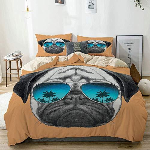 Juego de funda nórdica beige, perro pug reflectante aviadores, palmeras, ambiente tropical, animal doméstico fresco, negro, naranja, azul, juego de cama decorativo de 3 piezas con 2 fundas de almohada