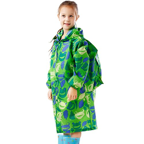 Vestes anti-pluie QFF Impression Raincoat pour Garçons et Filles Tissu épais Style Étudiant Longue Section Poncho Big Hat Transparent (Couleur : #1, Taille : XXXL)