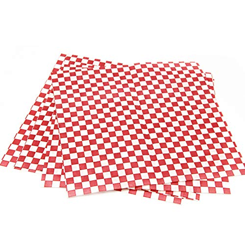 Baking Paper Sheets, 24Pc/Pack Wrapping Paper Red Wax Paper For Food Hamburger Fries Grease Papers Baking Wax Coated