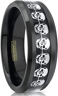 Magnificent Fearsome 8mm Black Tungsten Carbide Band Ring w/Silver Skulls Eternity Inlay.
