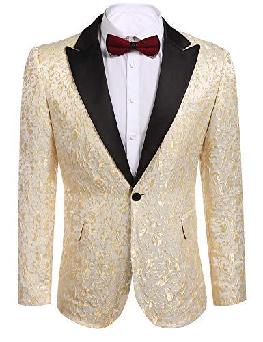 JINIDU Men's Floral Party Dress Suit Stylish Dinner Jacket Wedding Blazer Prom Tuxedo Golden