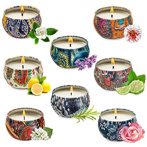 Yuning 8 Velas Juego de Regalo de Velas Perfumadas, 100% Cera de Soja Natural, Vela Aromaticas, Relajación y Alivio de Estrés, Muy Adecuado cumpleaños, Bodas y Navidad