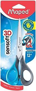 Maped - Ciseaux Sensoft 16 cm pour Gauchers avec Anneaux Souples et Ergonomiques - Ciseaux Scolaires dès 12 Ans - Pour Col...