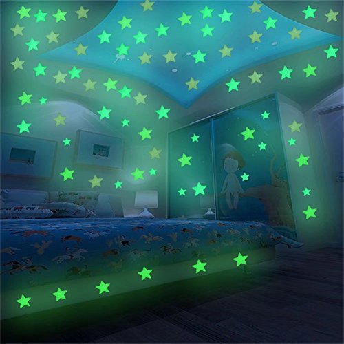 Glow in the Dark Stars, VMAE 100pcs Luminous Decal Stickers, Fluorescent Easy Peel and Stick Stars for Wall and Baby Kids Room - Yellow