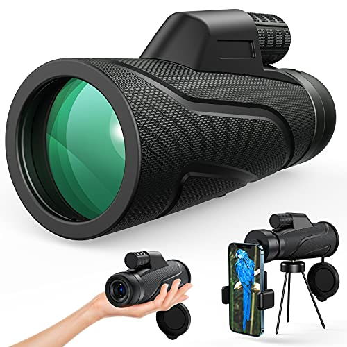 Gafild Telescopio monoculare, 12x50 hd monocular telescope professionale potente canocchiale monoculare per bird watching, caccia, campeggio, escursionismo, viaggi con adattatore e treppiede