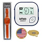 AMBA7 GolfBuddy Voice 2 Golf GPS/Rangefinder (40k+ Preloaded Worldwide Courses) Bundle with Wrist Band and Magnetic Hat Clip Ball Marker (USA Flag)