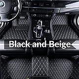 Super1Six Tapis De Sol pour Voiture en Cuir Personnalisé pour Toyo-Ta RAV4 RAV 4 XA50 2019~2020 XA 50 5 Places Auto Waterprool Foot Pad Accessoires De Tapis,Black Beige,Wheel Left