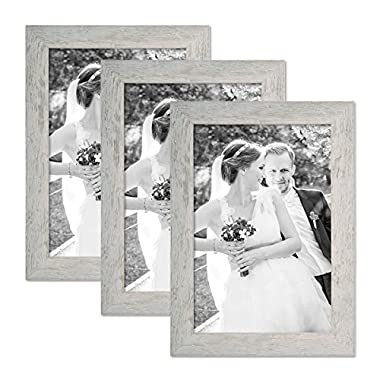 Set of 3 Picture Frames with Dimensions of 8 x 10 Inch, Beach-House Style, Rustic, Grey, Natural Solid Wood with Glass Insert