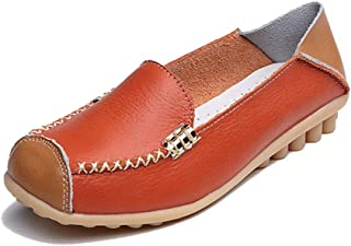 Women's Penny Loafers Square Toe Natural Comfort Breathable Moccasins Casual Driving Slip On Flat Walking Shoes