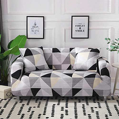 Funda elástica para sofá de poliéster y amplificador; licra de 1/2/3/4 plazas, estampado de triángulo, color gris, protector de reposabrazos para mascotas, perro, 1, asiento de 90,140 cm