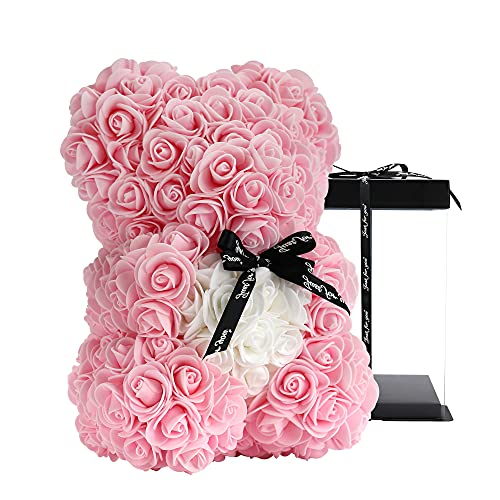 Unique Gifts,Rose Bear,Rose Teddy Bear in a Gift Box - Birthday Gift for Women,Gifts for mom Fully Assembled Gift Box (Light Pink)