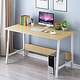 bakaji scrivania tavolo da lavoro porta pc computer piano in legno mdf con struttura in metallo arredamento casa ufficio cameretta design moderno dimensione 120 x 45 x 72 cm (beige)