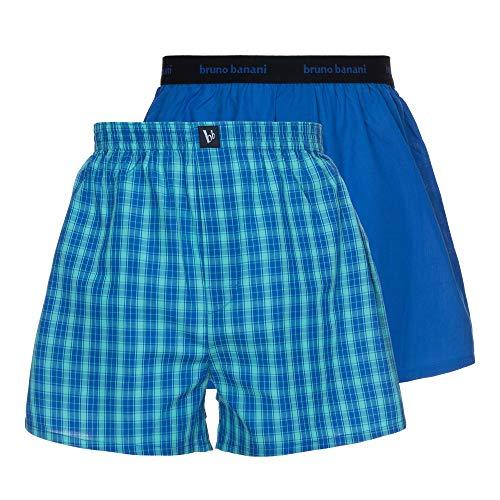 bruno banani Herren 2er Pack Newcomer Boxershorts, Mehrfarbig (Blau/Mint Karo//Blau 4017), Small (Herstellergröße: S)
