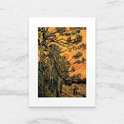 Galeria LueLue Foto-Kunstdruck mit Passepartout, Tannenbäume gegen Roten Himmel mit Sonnenuntergang, Van Gogh 24x18cm, handgefertigt, Kunst