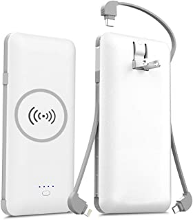 モバイルバッテリー 5000mAh 大容量【PSE認証済】Qi ワイヤレス充電 3ケーブル内蔵 急速充電 5台同時充電でき USB充電器 残量表示 軽量 薄型 ライトニング/microUSB/type-Cケーブル内蔵 機内持ち込みが可能 置くだけ充電 iphone/ipad/Android対応 ホワイト