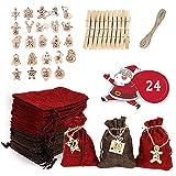 AJAMQ Bolsas De Calendario De Cuenta Regresiva De Navidad, 24 Bolsas De Tela Navideñas, Calendario De Adviento Sacos para Llenar, Bolsas De Yute Navideño