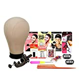 Studio Limited Canvas Block Head DIY Wig Making Starter Kit 12pcs, Height 12', Mannequin Head Wig Display and Stand for Wig Styling … (22' Set)