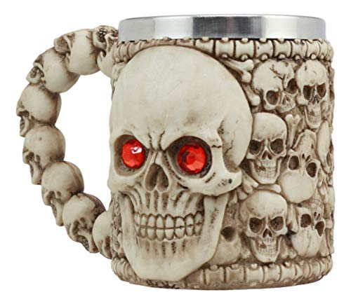 Ebros Ossuary Skeleton Heap Of Skulls Ghost Skull With Red Crystal Eyes Mug For Coffee Beverage Beer Tankard Macabre Decor Halloween Prop Figurine