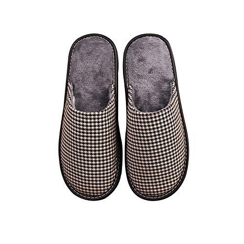 XVXFZEG Diseño a Cuadros Inicio de algodón de Lino de algodón Zapatillas de Felpa de Revestimiento, Zapatillas Zapatos cómodos Interiores y Exteriores Antideslizantes, cálido de Alta Densidad otoño e
