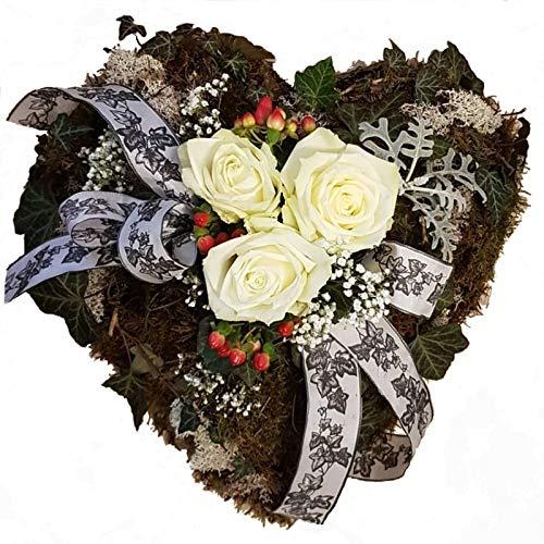 Flora Trans Grabgesteck Herz mit frischen Blumen -Reine Seele- Trauergesteck mit weißen Rosen