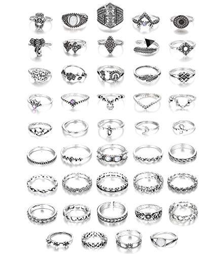 Adramata 44 Pcs Vintage Knuckle Ringe für Frauen Bohemian Finger Stackable Rings Set