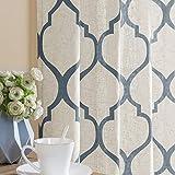 jinchan Printed Curtain Moroccan Tile Linen Textured Drapes Panels Bedroom Living Room Lat...
