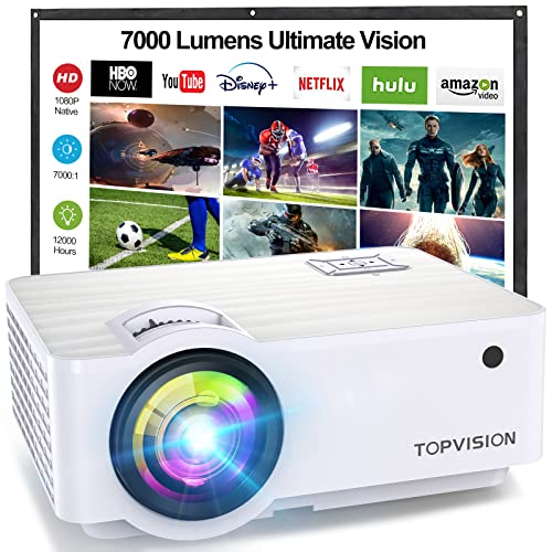 "TOPVISION Proyector Cine en Casa de 7000 Lúmenes, 1080P Nativo Mini Proyector Portátil, Proyector LCD 1080P Full HD de 120000 Horas con Pantalla Máx de 300"", Compatible con HDMI/VGA/USB/AV/SD"