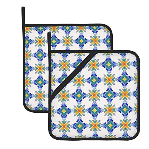HaiYI-ltd Juego de 2 soportes para ollas de cocina de 20 x 20 cm, diseño de mosaico de azulejos resistentes al calor, almohadillas calientes para hornear