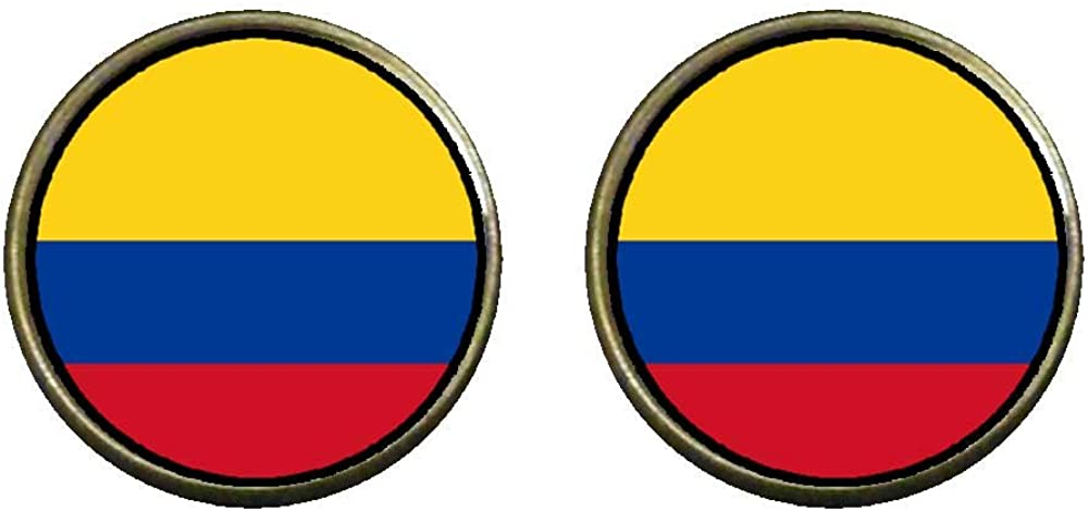 GiftJewelryShop Bronze Retro Style Colombia flag Photo Clip On Earrings 14mm Diameter