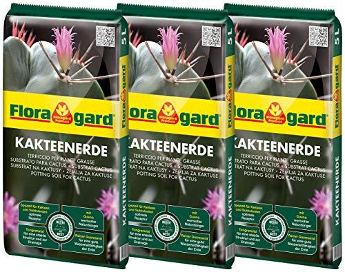 Florgard Kakteenerde 3x5L für alle Kakteen und sukkulenten Pflanzen - schonend aufgedüngt - mit reinem Quarzsand