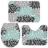LaLa.R Ensembles de tapis de bain 3 pièces, petite fleur de dahlia floral gris noir bleu tapis de salle de bain antidérapant, tapis de toilette en U absorbant l'eau, couvercle de couvercle de toilette