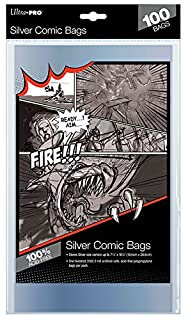 "Ultra Pro Unisex's 7-1/4"" X 10-1/2"" Comic Bags-Silver Age Size 18.4Cm X 26.5Cm (100Ct) X1, Multi Colour, PACK (B000OSTAAY) 