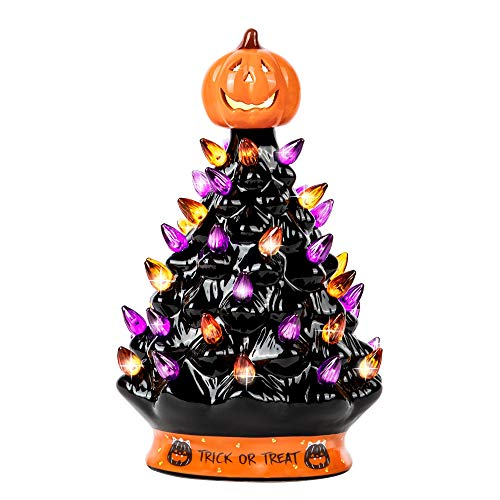 RJ Legend 9' Halloween Decorations Ceramic Tree - 35+ Multicolor Bulbs Halloween Tree – Handcrafted and Hand Painted – Glossy Finish – Pumpkin Top and Trick or Treat Bottom