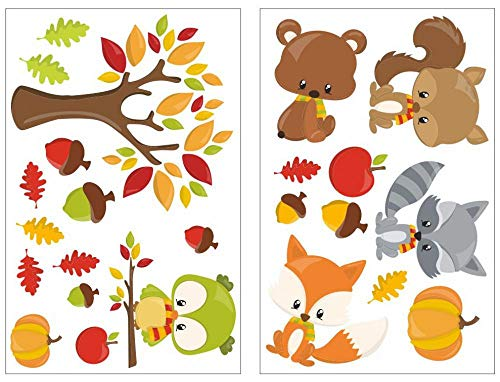 De 24 piezas Otoño Animales pared adhesivo decorativo para habitación infantil, multicolor, 2x 21x34cm