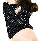 おたふく手袋 UVカット率99.7% UPF50+ 鼻上からデコルテまで超長 UVフェイスカバー ドット (全長約34cm) UV-2995