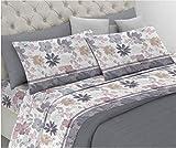 *HomeLife - Joc de llençols per a llit individual de pur cotó fabricat a Itàlia - Joc complet d'1 plaça + fongui de coixí amb estampat de flors de colors - Llençol fogons de 160 x 290 cm + *bajera amb cantonades de 90 x 200 cm + fonguis de coixí de 52 x 82 cm - Color gris
