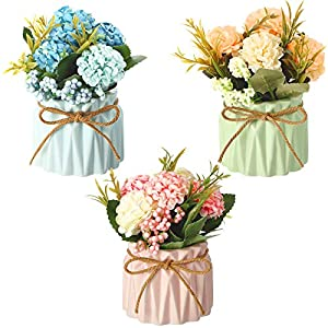3 Pieces Artificial Hydrangea Bouquet with Small Ceramic Vase Fake Silk Floral Balls Flowers Decor Pretty Flower Arrangement for Table Home Party Office Wedding Spring Decoration, Pink, Blue, Green