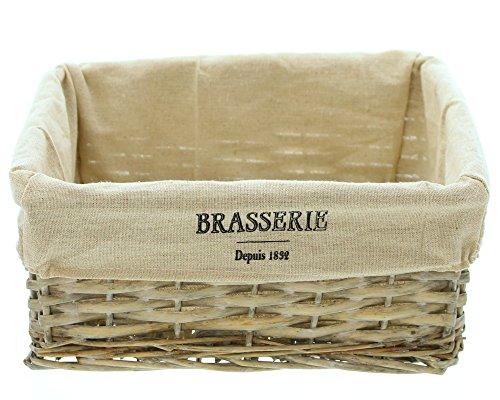 FRANK FLECHTWAREN Füllkorb Brasserie aus grau gekalkter Weide und aufwändig verflochten