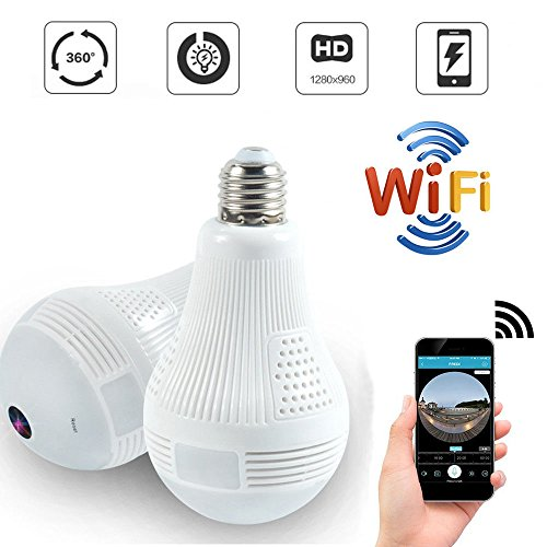 Quanmin HD 360° Wide Angle Fisheye Wireless Wi-fi E27 LED Light Bulb VR Panoramic IP Camera For Phone App Two Way Audio Talk Remote Real Time Monitoring Home Security CCTV Camera System