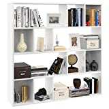 festnight scaffale libreria in truciolato armadio da esposizione design con 12 scomparti in stile moderno 110x24x110 cm arredamento soggiorno casa ufficio