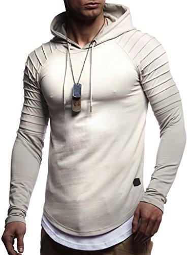 Leif Nelson Herren Kapuzenpullover Slim Fit Baumwolle-Anteil Moderner weißer Herren Hoodie-Sweatshirt-Pulli Langarm Herren schwarzer Pullover-Shirt mit Kapuze LN8155 Signalgrau Large