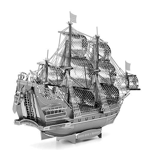 Metal 3D Puzzle, Modelo 3D De Ensamblar Queen Anne's Revenge DIY Monta Kits De Edificio Modelo Laser Cut Jigsaw Toy, Kit Maquetas para Construir Adultos/Adolescente, 140 * 45 * 122 Mm