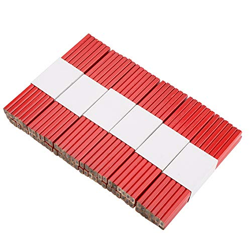 Lápices de Carpintero, 72 Piezas Lápices De Carpintero Planos, Lápiz de Carpintero de Mina Dura, 175 mm de Largo, Herramienta de Marcado de Carpintería(Rojo)