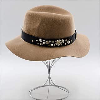 XueQing Pan 100% Wool Autumn Winter Women Fedora Hat Wide Brim Felt Woolen Hat British Jazz Hat