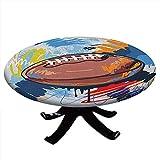 Nappe de sport ronde et ajustée, motif ballon de rugby, dessin coloré avec dessins colorés, bord élastique, imperméable et lavable, 121,9 cm de diamètre, multicolore