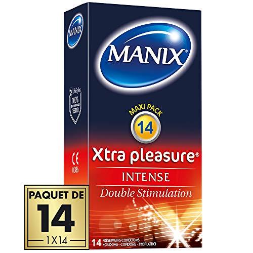 Préservatifs MANIX XTRA PLEASURE - nervurés avec double stimulation - Paquet de 14