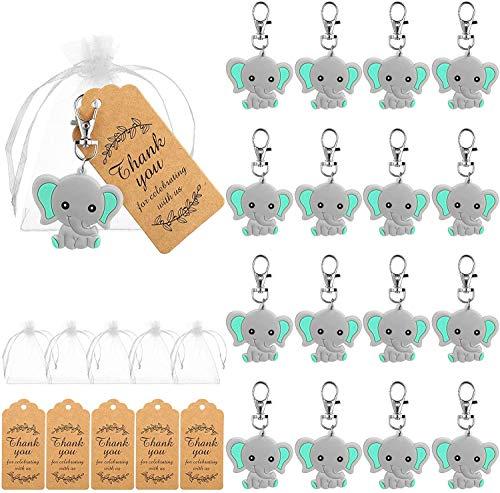 Boda Bautizo Colgante BESTZY 20PCS llavero elefante bautizo con Bolsa de Gasa Etiqueta Kraft Cuerda para colgante, perlas, ángel de la guarda para boda, bautizo, comunión, confirmación, regalo
