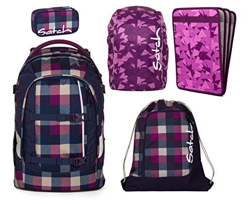 Unbekannt Satch Pack by ergobag 5er Set Schulrucksack + Sportbeutel + Schlamperbox Berry Carry & Regencape + Heftebox Purple