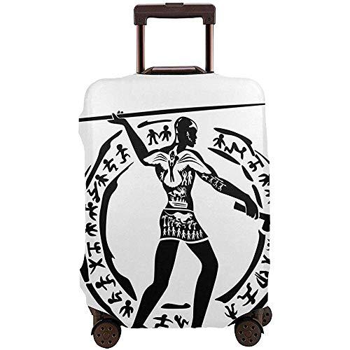 Funda de Equipaje de Viaje Figura de Persona Africana Tribal con Lanza Folklore de...
